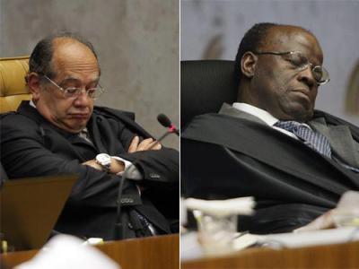 Gilmar Mendes e Joaquim Barbosa dormindo